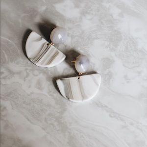 BLAIR 💫 White Marble Geometric Chic Earring